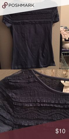 Blue/gray lacy top shirt from H&M Never worn shirt from H&M. Super cute but kinda tight on me. Tops Tees - Short Sleeve