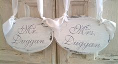 Wedding Signs PERSONALIZED with your New Family Name Mr & Mrs CHAIR HANGERS Rustic Vintage Beach Weddings In your Wedding Colors