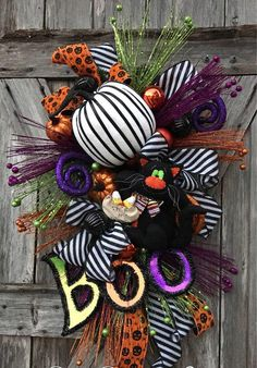 Whimsical Halloween~ black cat, pumpkins and more.ready for your door! Listed in my Etsy shop now! Halloween Trees, Halloween Season, Holidays Halloween, Halloween Decorations, Whimsical Halloween, Halloween Mesh Wreaths, Halloween Cupcakes, Halloween Stuff, Vintage Halloween