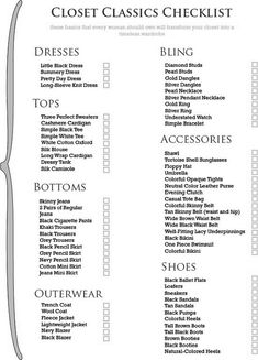 list of women's wardrobe basics. I have most of this accept the lame stuff.