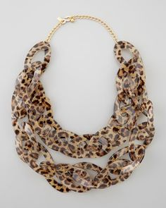 Kenneth Jay Lane Double-Strand Leopard-Print Enamel Necklace, Brown $125.00 thestylecure.com
