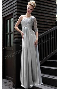 Paris Floor Length One-shoulder Gray Satin A-line Evening Dress p-sl580