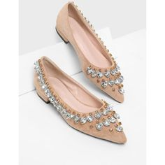 Heart Shaped Rhinestone Pointed Toe Flats (€16) ❤ liked on Polyvore featuring shoes, flats, flat heel shoes, rhinestone flats, pointy-toe flats, heart flats and heart shoes