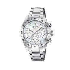 Ανδρικό ρολόι FESTINA F20397/1 με χρονογράφο, 24ωρη ένδειξη, mother of pearl καντράν με ατσάλινο μπρασελέ | ΤΣΑΛΔΑΡΗΣ στο Χαλάνδρι #Festina #motherof pearl #μπρασελε #ρολοι Fossil Watches, Cool Watches, Bering, Ice Watch, Discount Watches, Junghans, Boyfriend Watch, Luxury Watch Brands, Stainless Steel Bracelet