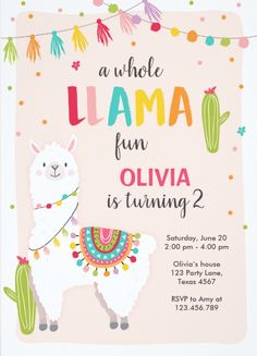 Whole llama fun birthday invitation Alpace Cactus ♥ A perfect way to invite your guests to your Party! Llama Birthday, 1st Birthday Girls, 10th Birthday, Birthday Fun, First Birthday Parties, Birthday Party Themes, Birthday Invitations, First Birthdays, Birthday Banners