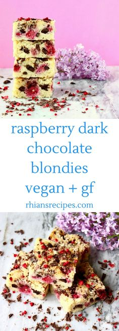 These Raspberry Dark Chocolate Blondies: easy, undetectably vegan and gluten-free, and only one bowl required!