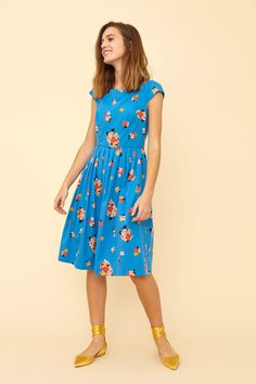 The Claudia Summer Blooms Dress featuring a full skirt, capped sleeves and concealed side pockets, this is the perfect dress for any occasion. Sophisticated Dress, Full Skirts, Sweet Dress, Summer Of Love, Occasion Dresses, Striped Dress, Frocks, Fit And Flare, Fashion Dresses