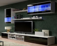 Details about TV Wall Units TV Stand TV Cabinets - High Gloss Black / White  Modern Furniture