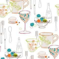 An eye-catching graphic wall covering for contemporary kitchens and dining rooms, the York Wallcoverings Bistro 750 Graphic Tableware Wallpaper . Eclectic Wallpaper, Kitchen Wallpaper, Wall Wallpaper, Pattern Wallpaper, Retro Wallpaper, Target Wallpaper, Wallpaper Roll, Transitional Wallpaper, Brown Teal