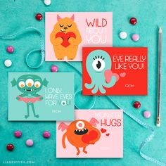 These printable monster Valentine's Day cards are freakishly adorable! Simply download, print, and share. Your little monsters will love these!