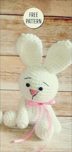Amigurumi Cute Bunny Free Pattern You are in the right place about crochet toys free patterns Here we offer you the most beautiful pictures about the crochet toys for beginners you are looking for. Crochet Bunny Pattern, Crochet Amigurumi Free Patterns, Cute Crochet, Crochet For Kids, Crochet Crafts, Crochet Dolls, Knitting Patterns, Crochet Baby, Baby Patterns
