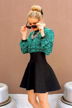 High Waisted Fit And Flare Skirt