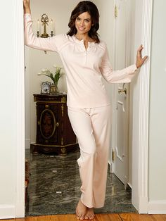 Elizabeth - Luxury Nightgowns - Possibly the most romantic pajamas that any body could want, this cuddlesome pima cotton interlock knit is impossible to resist