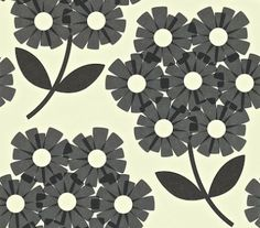 Giant Rhodedendron (110412) - Orla Kiely Wallpapers - Giant Rhodedendrons in a simple stylised effect. Shown in black on off white - more colours are available. Please request a sample for true colour match. Paste-the-wall product.