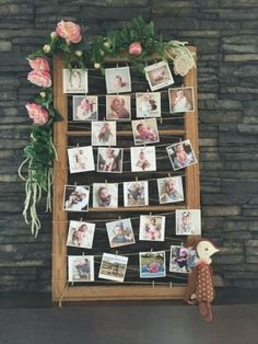 Photo display for a magical woodland themed birthday party