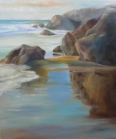 Acrylic Painting For Beginners, Step By Step Painting, Bright Colors Art, Robin, Ocean Photography, Sea Waves, Watercolor Paintings, Beach Paintings, Photo Backgrounds