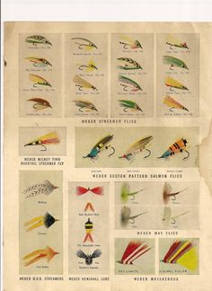 1952 catalog page of Weber flies.