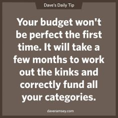 Your budget won't be perfect the first time. It will take a few months to work out the kinks and correctly fund all your categories. 09.05.13