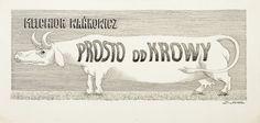 Daniel Mróz - Prosto od krowy, lata 80/90. XX w., ilustracja do książki(?) Melchiora Wańkowicza
