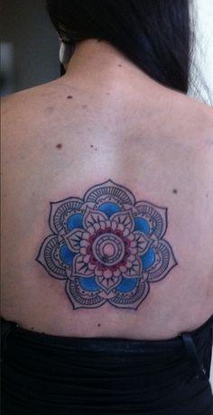Mandala back piece blue details!