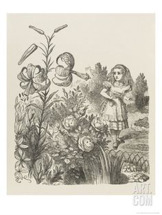 Living Flowers Alice and the Living Flowers Giclee Print by John Tenniel at Art.com