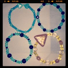 For the sister-in-law: Turquoise, Black and Gold Beaded Bracelets
