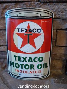 TEXACO MOTOR OIL Large Metal Petroleum Rounded Gasoline Can Advertising Cans