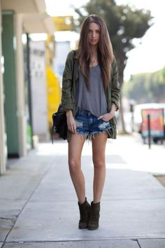 Long coat with jeans shorts, love it!