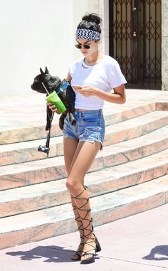 Shanina Shaik rocks classic denim, paired with gladiator lace-ups, immediately transporting us to Greece.