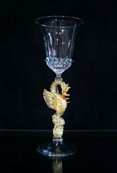 Classic vintage Murano dragon tall glass goblet prob. by Salviati, Venice, Italy