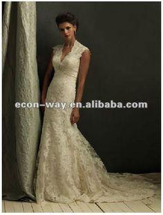Short sleeve v neck keyhole back lace wedding dress 2930cbfec2aa
