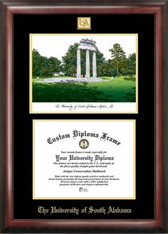 university of south alabama gold embossed diploma frame with campus images lithograph - Diploma Frames Walmart