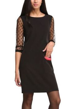 Desigual women's Claudia dress. The mouth is also a pocket. Desigual's take on the little black dress which is different and seductive. You'll definitely get lucky this winter if you wear this. Check out the sheer polka dot sleeves as well.