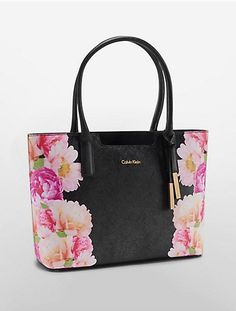 Image for floral saffiano leather winged tote from Calvin Klein