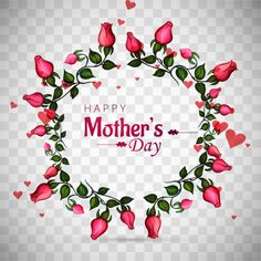 Mothers day background with floral wreath Free Vector