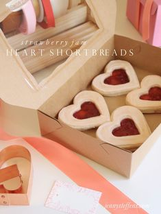 Shortbread Heart Sandwich Cookies filled with Strawberry Jam