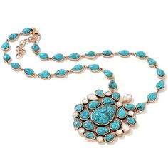 "DESIGN BY CL TURQUOISE AND ""MOTHER OF PEARL"" BRONZE 18"" NECKLACE HSN $219.90"