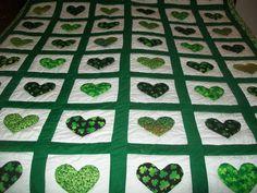 Handmade St Paddys Quilt, Greens/Black/Shamrocks/Sparkles