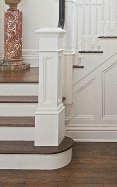 square newel post on round bottom step #FoyerEntrywayIdeas