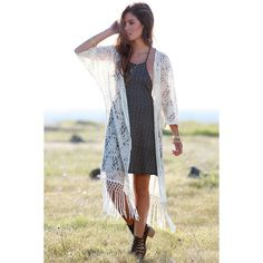 Fields of Flowers Cream Lace Kimono Top ($55) ❤ liked on Polyvore