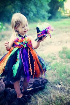 Witch Halloween tutu dress with matching witch by SunshinesTutus, $40.00