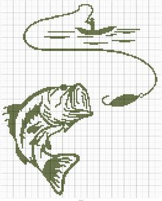 Large Mouth Bass w/ Fisherman Cross Stitch Pattern Maker, Cross Stitch Kits, Cross Stitch Designs, Cross Stitch Patterns, Knitting Patterns, Crochet Patterns, Crochet Fish, Fillet Crochet, C2c Crochet