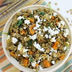 Lentil and Sweet Potato Salad. A healthy and hearty recipe for lunch dinner or your next potluck! Healthy Dishes, Healthy Salad Recipes, Savoury Dishes, Veggie Recipes, Healthy Cooking, Whole Food Recipes, Great Recipes, Vegetarian Recipes, Cooking Recipes