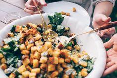 turnip green salad + okra, corn, spiced cornbread croutons and buttermilk herb dressing Clean Recipes, Veggie Recipes, Whole Food Recipes, Salad Recipes, Dinner Recipes, Healthy Recipes, Salad Bar, Soup And Salad, Herb Dressing Recipe