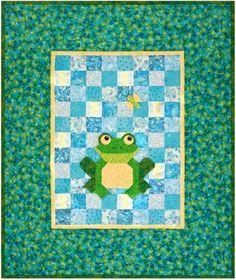 "Frog Patchwork Quilt Pattern: ""Elliot"" is a little mischievous frog."