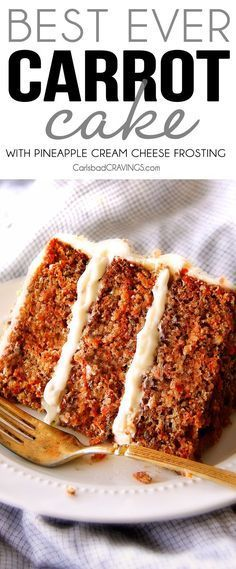 Layered Carrot Cake with Pineapple Cream Cheese Frosting - This is the BEST Carrot Cake Recipe, I will never make another recipe again! ! Super moist without being oily, spiced perfectly, and the Pineapple Cream Cheese Frosting is incredible! Brought this to a party and everyone was BEGGING me for the recipe!