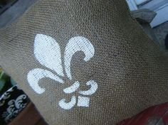 Burlap Fleur de Lis Pillow by RamonaOwenDesigns on Etsy, $15.00. Luv contrast of white against burlap ~~