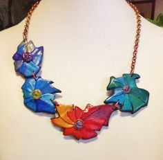 Polymer clay Summer flowers... necklace unique by ImpastArte