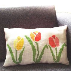 how to blow up your cross stitch design tulip cushion diy Cross Stitch Cushion, Cross Stitch Fabric, Cross Stitching, Cross Stitch Embroidery, Modern Cross Stitch, Cross Stitch Designs, Cross Stitch Patterns, Dmc Embroidery Floss, Hand Embroidery