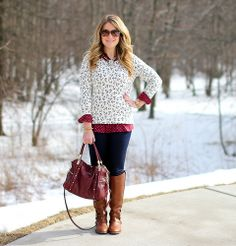 Old Navy Anchors Sweater Dotted Blouse Outfit idea Anchor Sweater, Mix And Match Fashion, Cognac Boots, Navy Anchor, She Is Clothed, Blouse Outfit, Love Her Style, Winter Looks, Mix Match
